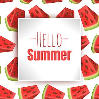 Ciao estate, iscrizione con pezzi di anguria colorati in stile cartone animato.