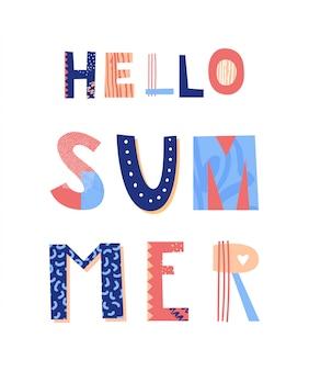 Ciao scritte estive. poster colorato. illustrazione.