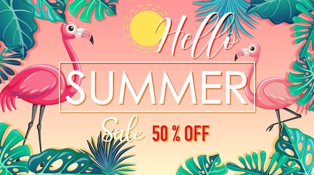 Ciao banner di saldi estivi con fenicotteri e foglie tropicali