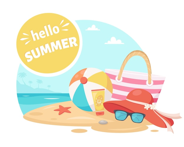 Ciao estate spiaggia al mare con cappello a palla, occhiali da sole e borsa elementi estivi