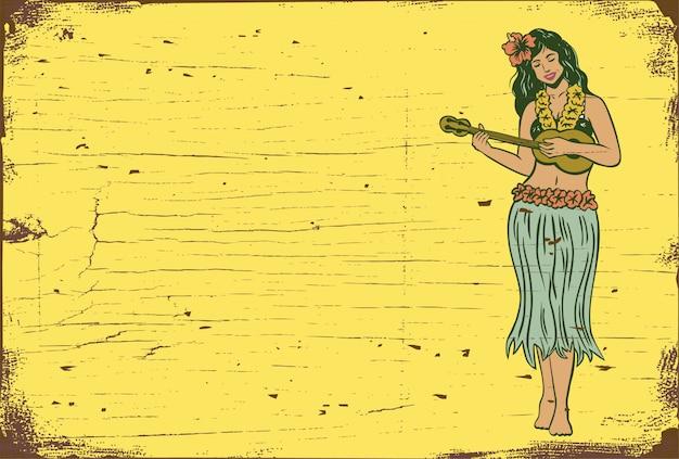 Ciao cartello estivo, ragazza di hula