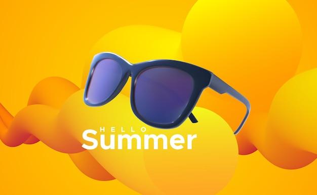 Ciao segno di estate con gli occhiali da sole su fondo arancio astratto