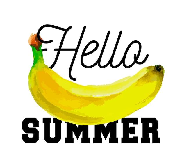 Ciao slogan estivo acquerello banana frutta cibo vegetariano fresco Vettore Premium