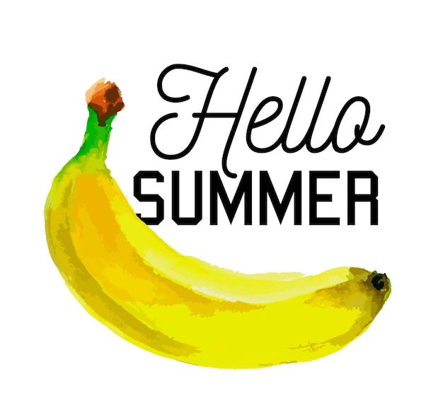 Ciao slogan estivo acquerello banana frutta cibo vegetariano fresco