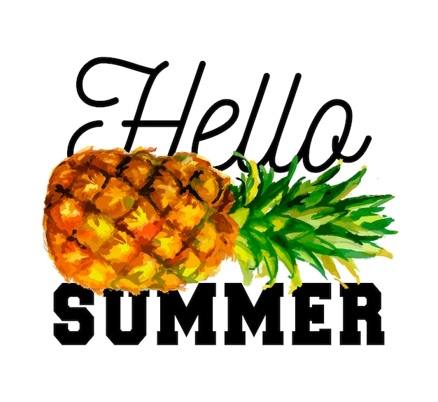 Ciao slogan estivo illustrazione ad acquerello di ananas. eps 10. nessuna trasparenza. sfumature.