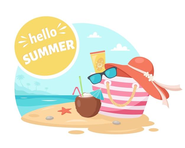 Ciao estate elementi estivi cappello da spiaggia pina colada occhiali da sole crema solare