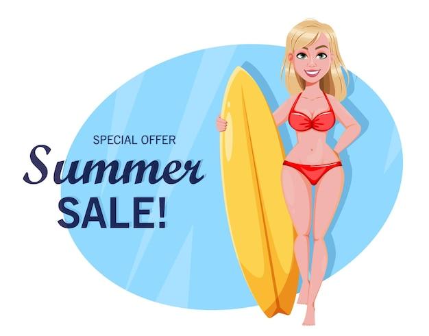 Ciao concetto di vendita di estate di estate personaggio dei cartoni animati sveglio della ragazza del surf