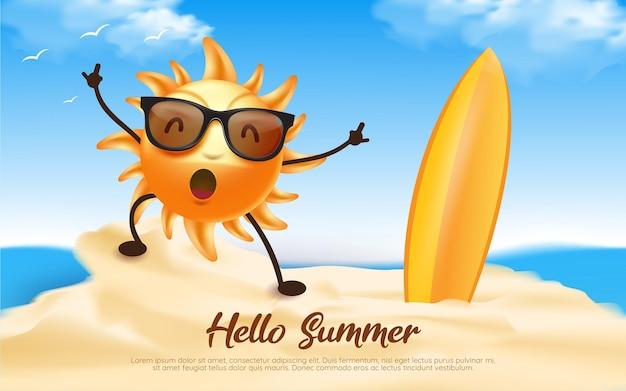 Ciao illustrazione del personaggio del sole estivo