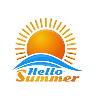 Ciao estate. icona del logo dell'alba. sole del fumetto sopra le onde del mare. illustrazione isolato su sfondo bianco