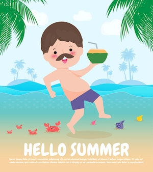Ciao estate modello banner hipster uomo che salta su divertiti estate rilassante persona in riva al mare lounge al mare vacanze estive piatto cartone animato su sfondo