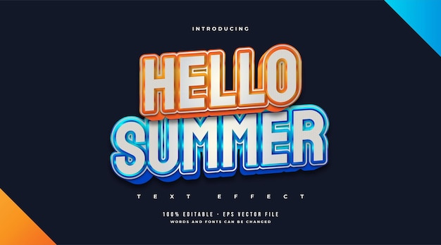Hello summer text in stile blu e arancione con effetto in rilievo. effetto di testo modificabile