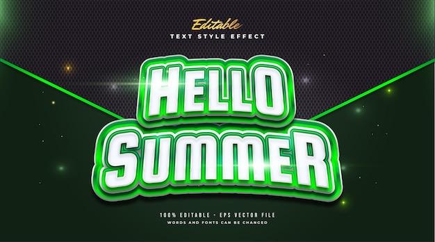 Hello summer text in grassetto verde e bianco con effetto curvo. effetto stile testo modificabile