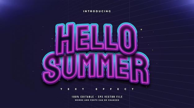 Ciao estate testo in stile retrò colorato con effetto incandescente. effetto di testo modificabile