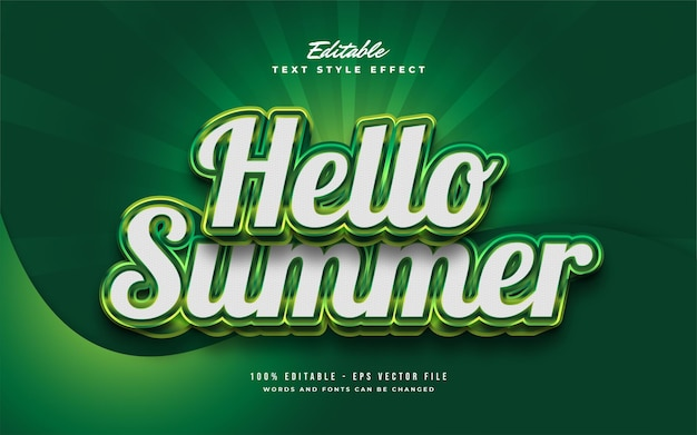 Hello summer text in bianco e verde con effetto rilievo 3d. effetto di testo modificabile