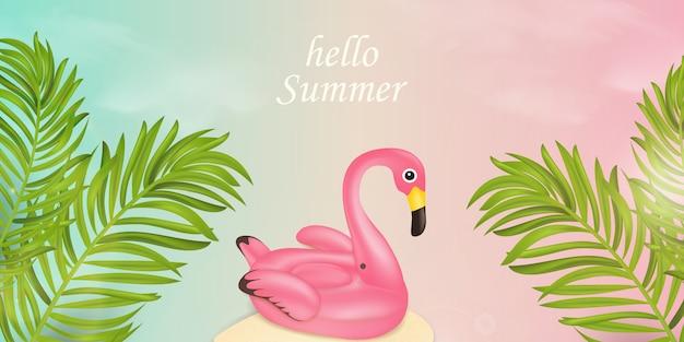 Ciao periodo estivo tipografico. concetto di design dell'insegna di estate con gli elementi della spiaggia, galleggiante rosa dello stagno del fenicottero, foglie di palma tropicali nel fondo del cielo blu e rosa. illustrazione