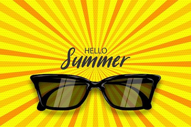 Ciao ora legale vector pop art poster occhiali da sole realistici sfondo linea radiale