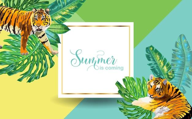 Hello summer tropical design con foglie di palma e tigri. poster, striscioni, t-shirt, volantini, copertine per le vacanze sulla spiaggia tropicale. illustrazione vettoriale