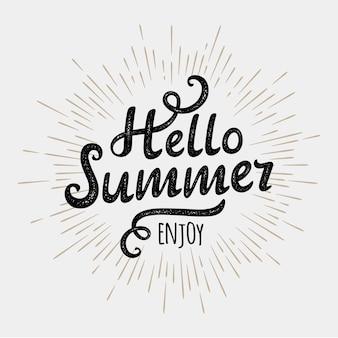 Ciao estate, iscrizione tipografica su sfondo sole monocromatico vintage. illustrazione
