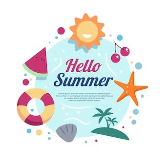 Ciao elementi di illustrazione di vacanze estive sulla spiaggia Vettore Premium