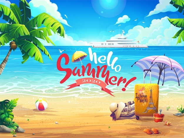 Ciao illustrazione di sfondo vettoriale estate spiaggia e palme sullo sfondo del mare e della nave da crociera.