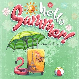 Ciao estate vettore sfondo illustrazione valigia da viaggio, ombrellone.