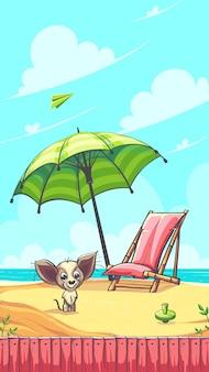 Ciao illustrazione vettoriale estate con cagnolino sulla sabbia