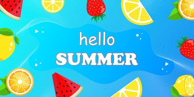 Ciao banner web estivo vista dall'alto sulla composizione estiva con frutta tropicale realistica Vettore Premium