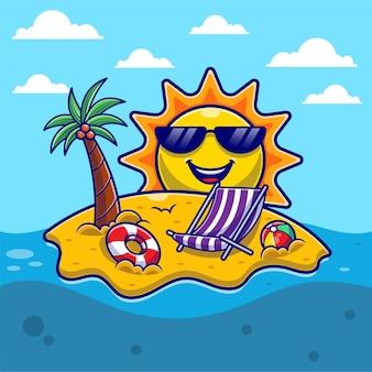 Ciao estate con spiaggia e sole carino