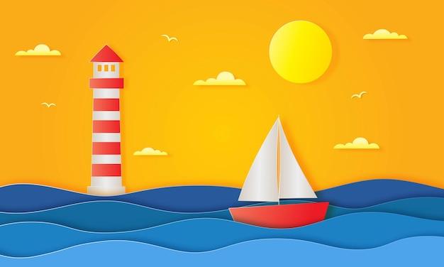 Ciao estate con stile arte carta sfondo paesaggio spiaggia