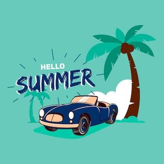 Ciao estate con illustrazione di auto in spiaggia