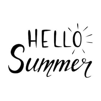 Ciao estateiscrizione fatta a manoillustrazione vettoriale disegnata a mano con scarabocchi del sole