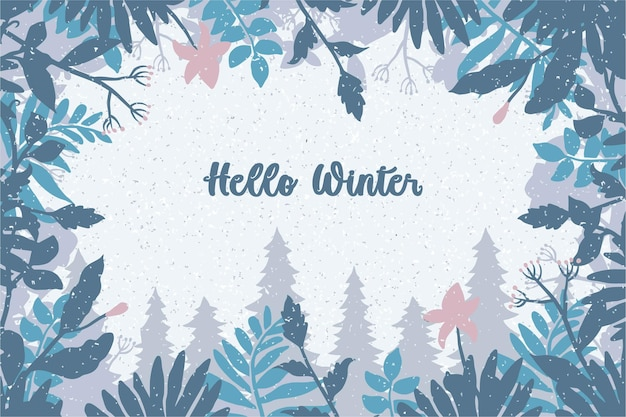 Ciao sfondo invernale, illustrazione vettoriale