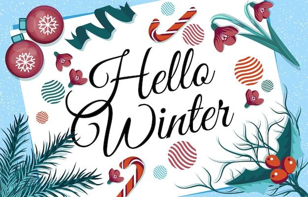 Hello winter lettering text per il design di sfondo con ornamento natalizio