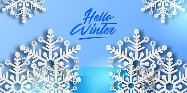 Hello winter luxury elegant decoration of crystal snowflake con scintillii per lo sfondo decorativo