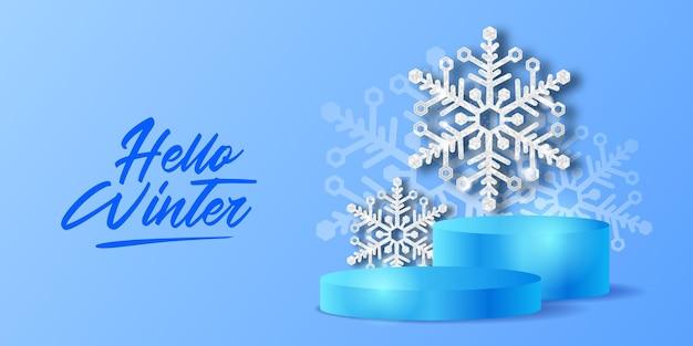 Hello winter luxury elegant decoration of crystal snowflake con scintillii e display del prodotto sul podio per lo sfondo decorativo