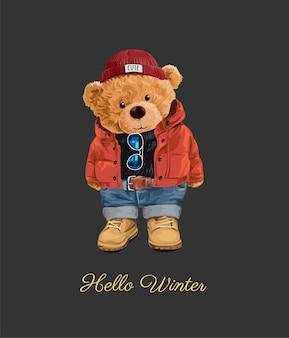 Ciao slogan invernale con giocattolo orso in illustrazione stile invernale