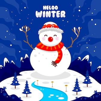 Ciao inverno con un pupazzo di neve in montagna quando nevica