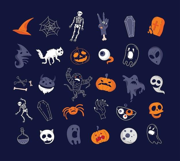Collezione di personaggi ed elementi di helloween.