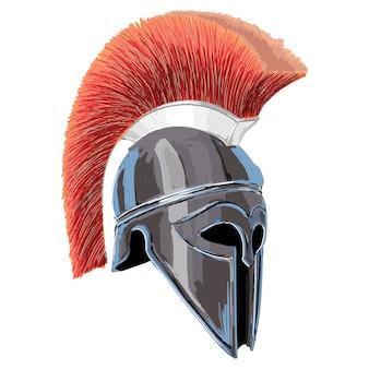 Elmo dell'oplita guerriero greco antico isolato su priorità bassa bianca.