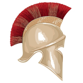 Elmo dell'antico guerriero greco oplita con ornamento a meandro nazionale. schizzo a mano semplice isolato su priorità bassa bianca.