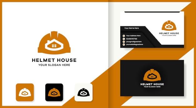 Logo immobiliare del casco e design del biglietto da visita