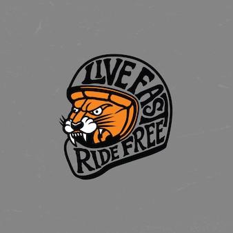 Distintivo del logo del motociclo della tigre del casco con stile retrò vintage
