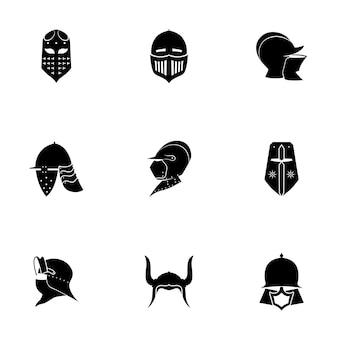 Insieme di vettore del casco. l'illustrazione semplice della forma del casco, gli elementi modificabili, possono essere utilizzati nella progettazione del logo