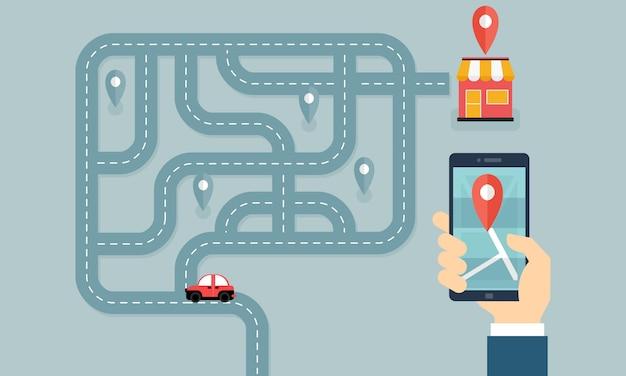 Aiuta i clienti a trovare l'illustrazione del concetto di business locale