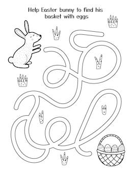 Aiuta il simpatico coniglietto a prendere il suo cestino con le uova gioco del labirinto di pasqua per bambini pagina delle attività primaverili in bianco e nero puzzle del labirinto del coniglio di pasqua