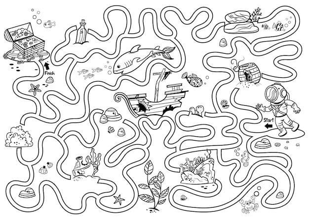 Aiuta il subacqueo a arricchire lo scrigno del tesoro gioco del labirinto in bianco e nero per bambiniillustrazione vettoriale