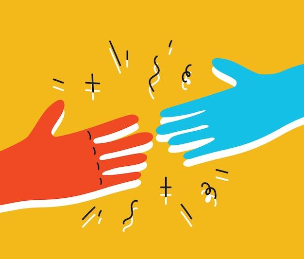 Concetto di aiuto ed empatia due mani che si aiutano a vicenda vettore semplice illustrazione minima, cura dare aiuto, comprensione dell'amicizia, supporto.