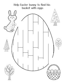 Aiuta il coniglietto a trovare il cestino con le uova gioco del labirinto di pasqua per bambini pagina delle attività primaverili in bianco e nero puzzle del labirinto del coniglio di pasqua