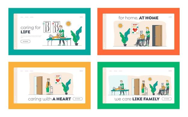 Aiuta le persone disabili anziane nel set di modelli di pagina di destinazione della casa di cura