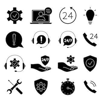 Set di icone di aiuto e supporto. supporto tecnico in linea. illustrazione concettuale per assistenza, call center, servizio di aiuto virtuale. supporto soluzione o consiglio. icone glifi vettoriali